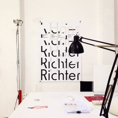 Dark side of typography #hans #white #office #black #richter #wall #poster #workspace #typograph