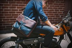 Handcrafted Satchel made of Horween Chromexcel leather by Eighteen32. #leather #satchel #bag #motorcycle #caferacer