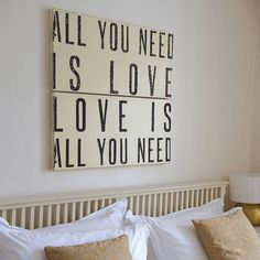 'All You Need Is Love' Wooden Sign #typography #black #love #typo #quote #swords #beige