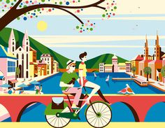 Bucherer #illustration #green #color #bike #bicycle #biking