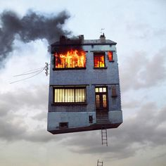 House, Burning, Fire, Floating, Burn, Smoke, Ladder