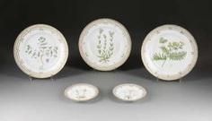 FIVE PLATES 'FLORA DANICA' Denmark, Royal Copenhagen, 1970s #porcelain