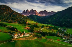 Santa Maddalena village in front of the Geisler or Odle Dolomites Group, Val di Funes, Trentino Alto Adige, Italy, Europe by Valentin Valkov