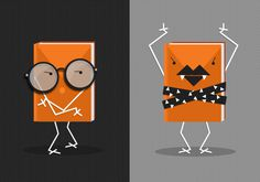 Illustration by Nancy Ng #vector #orange #books #illustration #slide #characters