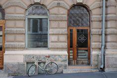 Helsinki FoodCompany #pattern #bicycle #sign #display #photography #identity #window #logo