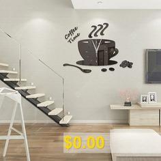 Coffee #Cup #Mirror #Wall #Clock #Mute #Clock #Modern #Home #Decoration #Wall #Stickers #Clock #ZB053 #- #BLACK
