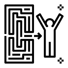 See more icon inspiration related to path, exit, maze, labyrinth, way, success, arrow, man, solved, experience, achievement, goals, people and arrows on Flaticon.