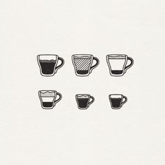 espresso beverage icon set