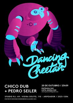 Dancing Cheetah #cyan #flyer #vector #magenta