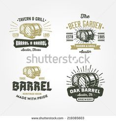 Set of vintage badge, label, logo template designs with wooden barrels for beer house, bar, pub, brewing company, brewery, tavern, restauran #logo