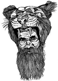 tumblr_lc8yflXq8H1qz9v0to1_500.jpg (JPEG-afbeelding, 499x700 pixels) #white #beard #big #cat #black #illustration #tiger #bw