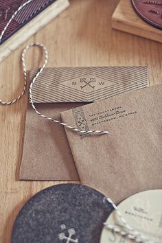 futurecondensed:Goncharow's Coaster Wedding Invites #logotype #identity #craft