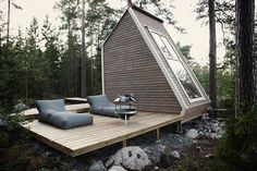 Micro Cabin in Finland #cabin #milk #design