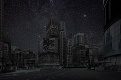 Tokyo night landscape with many stars