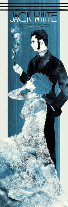 Image of Jack White Miami, FL 9.21.14 #jack white #the silent giants #illustration #screen print #3-color #french paper
