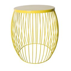 Miami Wire Stool Yellow 44.5cm x 44.5cm x 47cm