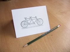 The Tandem letterpress card by CabbageCreative on Etsy #creative #letterpress #cabbage #tandem #bike