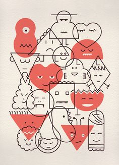 GEOMETRIES - MARC PE #illustration #red #geometries #marcpe