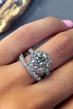 wedding ring sets round cut halo diamond pave band white gold
