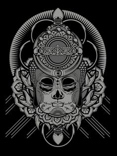 Hydro74 Enlightened Series on the Behance Network #illustration #skull #black and white #mexican #chica
