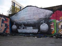 Hackney wick street art by Phlegm #abstract #surrealism #art #street #surreal