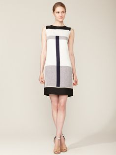 Narciso Rodriguez Linen Paneled Shift Dress #fashion #dress #geryscale