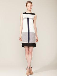 Narciso Rodriguez Linen Paneled Shift Dress #fashion #dress #geryscale
