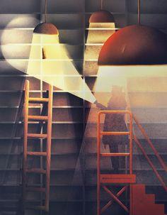 Karolis Strautniekas #illustration #light #lamps