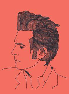 Jon Spencer of The Jon Spencer Blues Explosion and Heavy Trash #vector #jon #tablet #hair #illustration #portrait #music #spencer