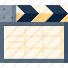 See more icon inspiration related to action, music and multimedia, clapboard, clapper, entertainment, clapperboard, film, movie and cinema on Flaticon.