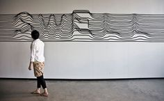 Synoptic Office #white #installation #stripes #black #type #typography