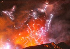 Volcanic lightning or a dirty thunderstorm is seen above Shinmoedake peak as it erupts, in Japan. It is not clear why bolts of lightning are
