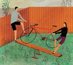Lorenholyoke.com #illustration #spouses #editorial #bike