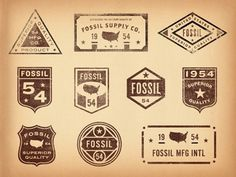 Dribbble - Old Fossil Badges & Seals by Jonathan Schubert #dribbble #badge #texture #fossil #jonathan #vintage #schubert #typography