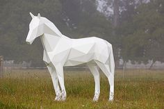 Geometric Animal Sculptures by Ben Foster #sculpture #white #horse #design #geometric #art #beauty
