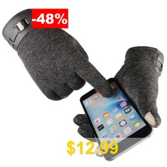 Man #Business #Touch #Screen #Gloves #Driving #Cycling #Outdoor #Sports #Glove #Warm #Non-slip #- #GRAY