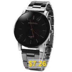 Rosivga #177 #Delicate #Stainless #Steel #Band #Men #Quartz #Watch #with #Stripes #Display #Round #Dial #- #BLACK