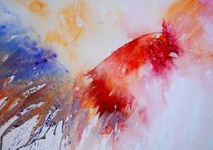 The Magic of Watercolour Painting Virtual Gallery - Jean Haines, Artist - Cockerels #painting #watercolor #cockerel #art