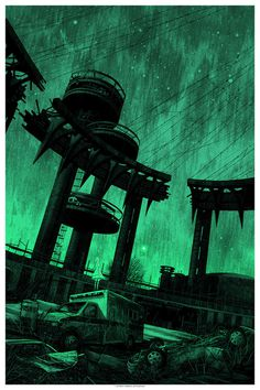 """""""but there #horror #night #illustration #industrial #glow #apocalpyse #bridge #surreal #eerie"""
