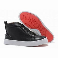 Christian Louboutin Louis High Top Mens Sneakers Black Patent Leather #shoes