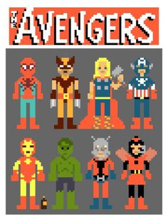 Laughing Squid - Avengers in Pixels by Ian Andersen #wolverine #pixel art #the avengers #spiderman #thor #capitain america #iron man #hulk