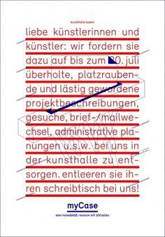 myCase - Kunsthalle Luzern. Grafik für Einladungskarte und Plakate im Corporate Design der Kunsthalle Luzern #underline #red #poster #and #blue