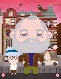 Bill Murray Series - 100percentsoft.com #vector #caricature #bill #wes #anderson #fan #royal #tenenbaums #illustration #cinema #art #film #murray #character