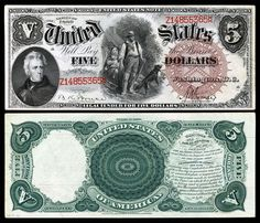 United States 1880 $5 Legal Tender #currency #ephemera