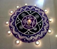 Magic of blue rangoli design
