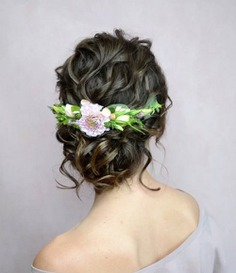 Twisted Messy Bun With Fresh Flowers