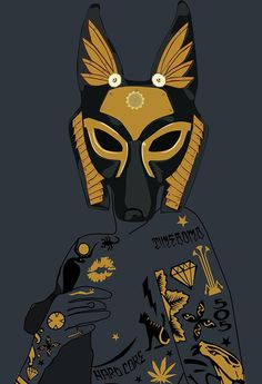 Late Night Egyptian Tales Ep.1 : Anubis on Behance #sexy #egypt #design #anubis #mythology #illustration #egyptian #art #gold #jackal