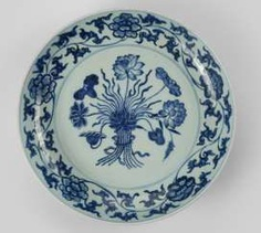 A large underglaze blue decorated dish with Lotus flowers in the Ming style #porcelain