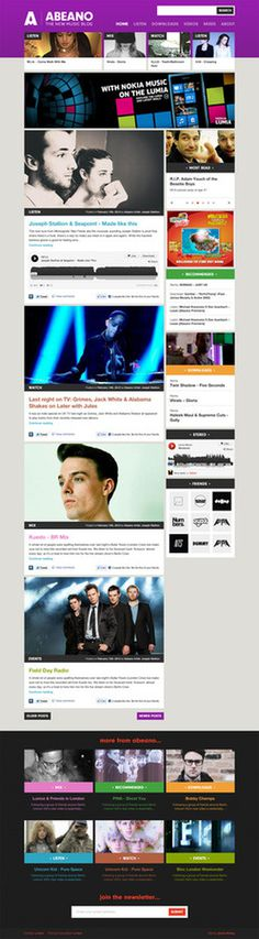 Abeano redesign by James Kirkups #music #blog #abeano #redesign