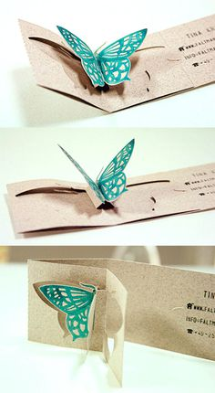 Beautiful butterfly die-cut business card #cards #designs #business #printable